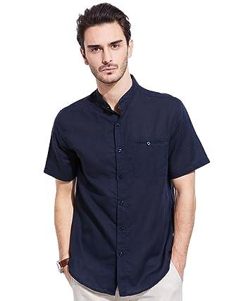 UAISI Camisa Casual - con Botones - Cuello MAO - Manga Larga - Para Hombre Azul Marino XL: Amazon.es: Ropa y accesorios