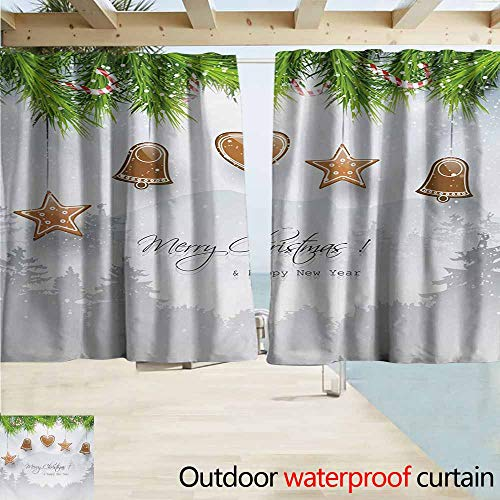 - AndyTours Rod Pocket Curtains,Christmas Gingerbread Cookies Hanging from Fir Branches Forest Silhouette,Darkening Thermal Insulated Blackout,W72x72L Inches,Pale Brown Green Pale Grey