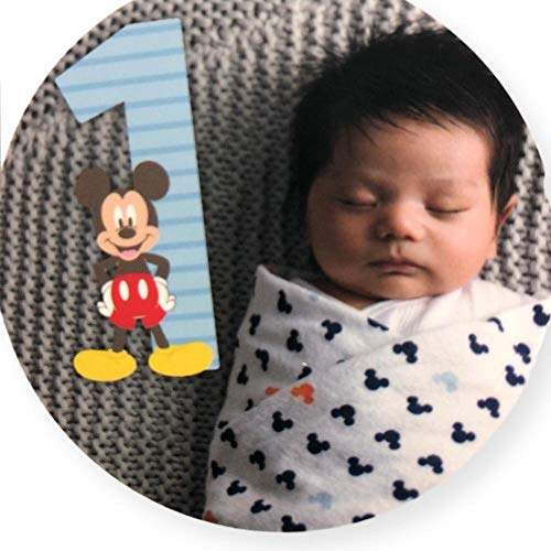 Pants Playset - Disney Baby Boys Mickey Mouse Milestone Photo Prop Numbers Gift Set, No No Size