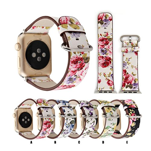 Sport Band for Apple Watch 38mm, Gotd Floral Leather Strap Replacement Watch Band For Apple Watch 38mm Series 3, Series 2, Series 1 (Small, Color A)