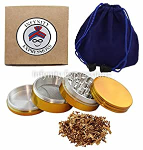 2 inch 4 Piece Herb Tobacco Spice Grinder with Pollen Screen - GOLD Colour W CARRY POUCH & SCRAPER