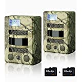 Hunting Trail Camera, 2 Pcs LDesign Waterproof Game/Wildlife Surveillance/Home Security Camera with 2 TF Card, Wide Angle Infrared Night Vision, 720P Glow-26PCs IR LEDs & PIR Sensor,0.8s Trigger