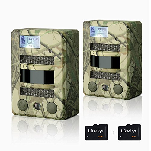 Hunting Trail Camera, 2 Pcs LDesign Waterproof Game/Wildlife Surveillance/Home Security Camera with 2 TF Card, Wide Angle Infrared Night Vision, 720P Glow-26PCs IR LEDs & PIR Sensor,0.8's Trigger