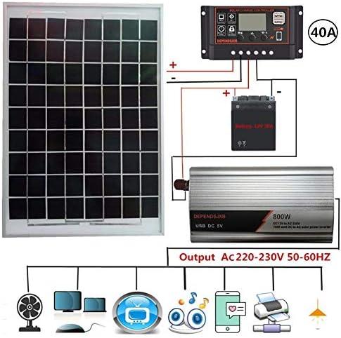 Pepional Solarpanel-Set, Verpolungsschutz LCD-Controller AC230V 800W Solarstromanlage Solarpanel Solarcontroller Wechselrichtersatz 18V20W 12V Bis AC230