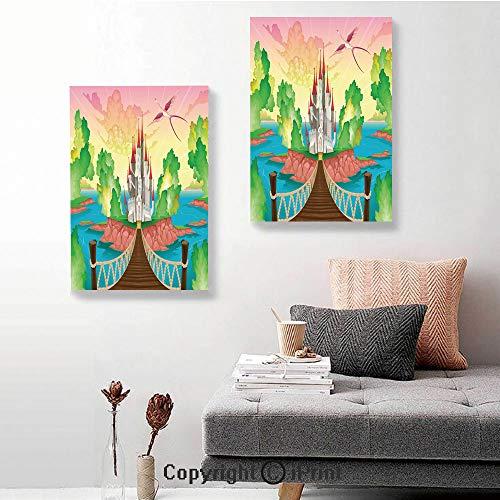 SfeatruRWF Canvas murals,Princess Castle Above Wooden Bridge and Phoenix Bird Fairy Dream World Girls Image,24