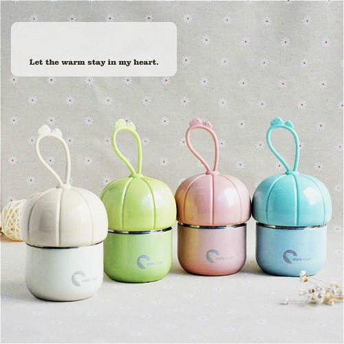 MAZIMARK-160ml Kids Stainless Steel Vacuum Flasks Cute Pumpkin Bottle Vacuum Thermal Cup (pink)