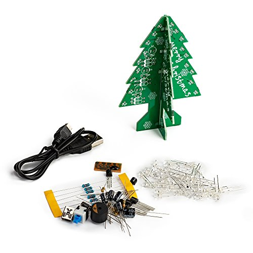 7 Colorful Flashing LED DIY 3D Christmas Tree Electronic DIY Kit