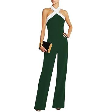 Damen Schwarz Festlich Elegant Rot Jumpsuit Gürtel Ärmellos breit Bein  Overall Catsuit Clubwear Kleidung c871a0a84d