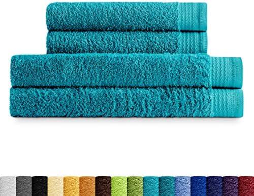 Eiffel Textile Juego de Toallas Calidad Rizo 600 gr, Algodón Egipcio 100%, Oceano, 2 Lavabo 2 Ducha, 4 Unidades: Amazon.es: Hogar