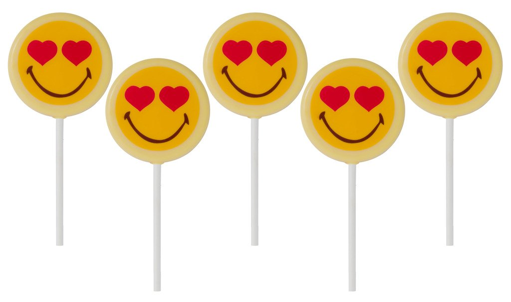 Smiley World Emoji Face Expressions White Milk Chocolate Heart Lollipops  Suckers