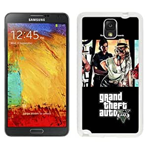 Custom and Personalized Cell Phone Case Design with GTA5 Poster Woman Cop Galaxy NOTE 3 N900P Wallpaper in White