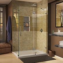 DreamLine QuatraLux 34 5/16-Inch by 46 5/16-Inch Frameless Hinged Shower Enclosure, Brushed Nickel Finish, SHEN-1334460-04
