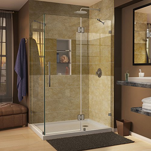 DreamLine Quatra Lux 34 5/16 in. D x 46 5/16 in. W, Frameless Hinged Shower Enclosure, 3/8'' Glass, Brushed Nickel Finish by DreamLine