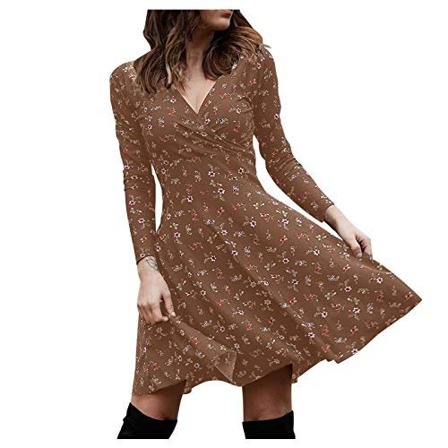 SmallYin Avondjurk voor dames, boho, lange jurk, V-hals, middellange paraplurok, knielange zomertuniek, vintage…
