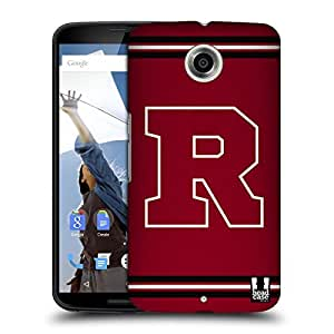 Head Case Designs White R College Varsity Protective Snap-on Hard Back Case Cover for Motorola Nexus 6 LTE