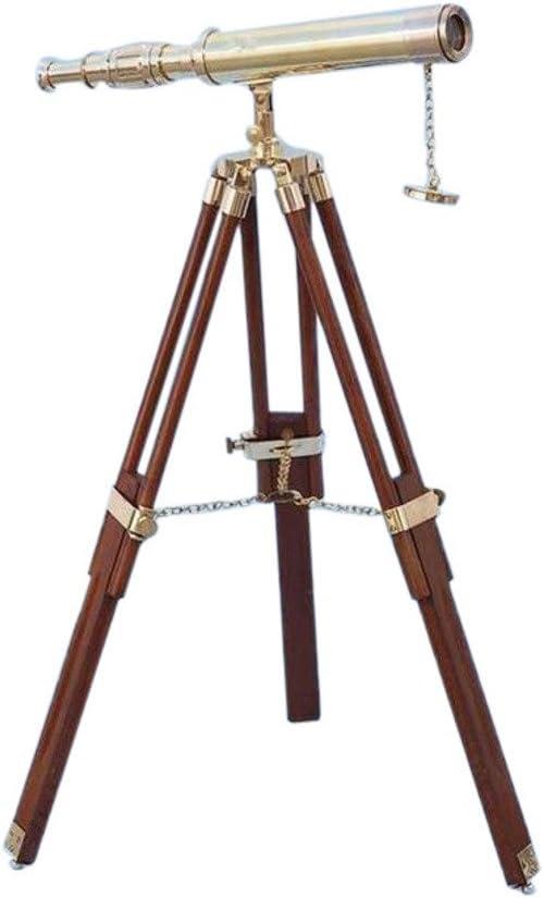 Antique Nautical Plain Floor Standing Brass Harbor Master Telescope Home Decor