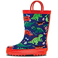 LONECONE Rain Boots with Easy-On Handles in Fun Patterns for Toddlers and Kids, Puddle-a-Saurus Dinosaur, 10 Toddler