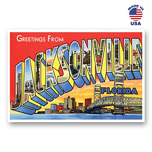 GREETINGS FROM JACKSONVILLE, FL vintage reprint postcard set of 20 identical postcards. Large Letter Jacksonville, Florida city name post card pack (ca. 1930's-1940's). Made in USA. (Stores Jacksonville Fl)