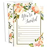 25 Floral Party Invitations with Envelopes | Blank, Fill-in Invites | Great for Bridal Showers, Girl Baby Showers, Graduation, Bachelorette, Sweet 16, Rehearsal Dinner, Birthdays, Weddings