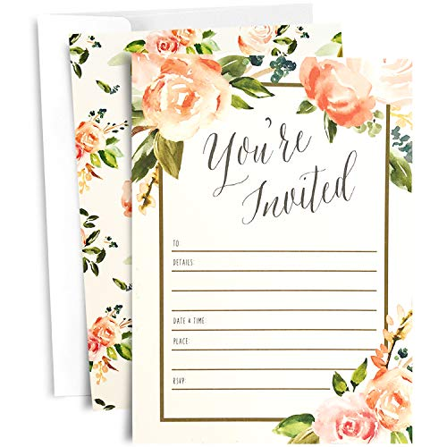 25 Floral Party Invitations with Envelopes | Blank, Fill-in Invites | Great for Bridal Showers, Girl Baby Showers, Graduation, Bachelorette, Sweet 16, Rehearsal Dinner, Birthdays, Weddings by Angie Makes