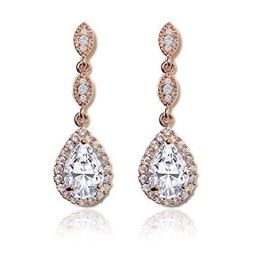 AMY O Elegant Teardrop Cubic Zirconia Crystal Earrings in Silver, Gold, Rose Gold by AMY O