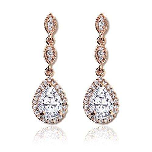 AMY O Elegant Teardrop Cubic Zirconia Crystal Earrings in Silver, Gold, Rose Gold