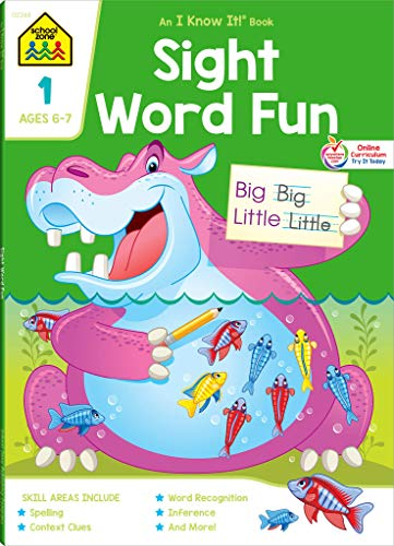 School Zone - Sight Word Fun Workbook - 64 Pages, Ages 6 to 7, Grade 1, Word Recognition, Spelling, Context Clues, Categorizing, and More (School Zone I Know It!® Workbook Series) ()