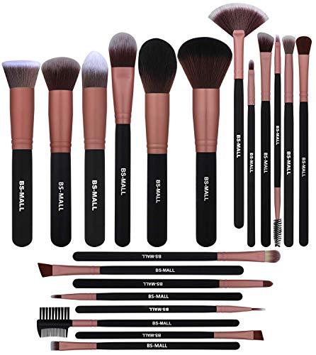 BS-MALL Premium Synthetic Kabuki Brush - Eye Make Up Brushes - Makeup Brush Set (20 Pcs,Rose Golden)