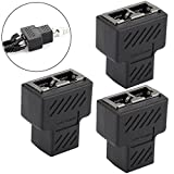 JahyShow RJ45 Splitter Adapter, RJ45 Female 1 to 2 Dual Female Port LAN Ethernet Network Connector for Cat5 Cat6 (3 Pack)