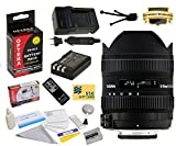 Sigma 8-16mm f/4.5-5.6 DC HSM FLD AF Ultra Wide Zoom Lens (203306) With 3 Year Extended Lens Warranty For the Nikon D40 D40x D60 D3000 D5000 DSLR Camera Includes - Replacement Battery Pack for the Nikon EN-EL9 2000MAH + 1 Hour AC/DC Battery Charger + Delu