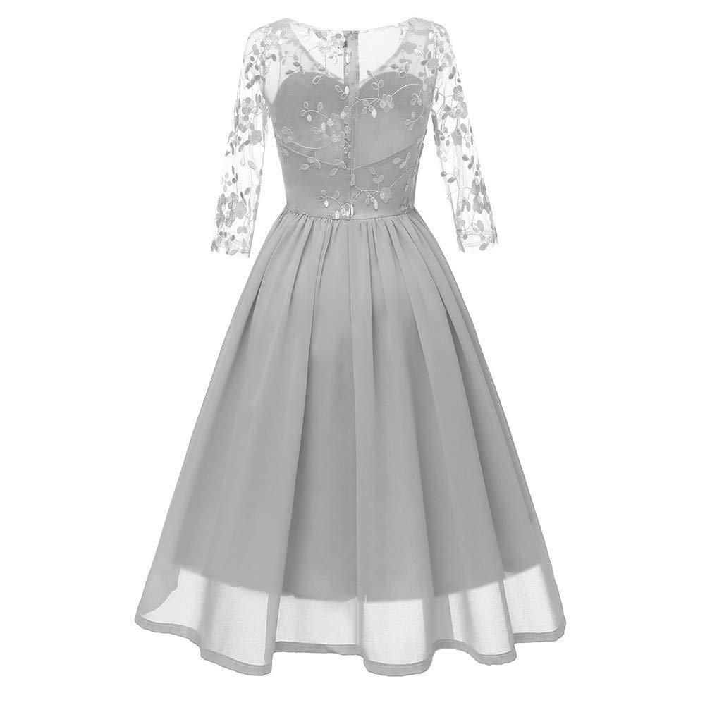 4e8c04d64ef1 Amazon.com: Women Long Dress Sexy V-Neck Vintage Lace 3/4 Sleeve Formal  Patchwork Wedding Sundress Cocktail Evening Party Skirt: Toys & Games