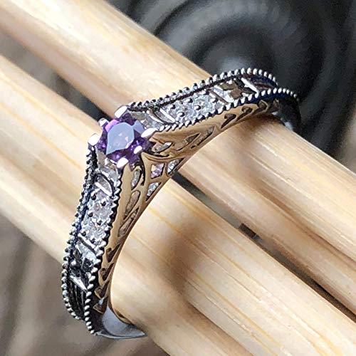 Natural Rose de France Amethyst 925 Solid Sterling Silver Victorian Filigree Engagement Ring sz 6, 6.75, 7, 7.75, 8, 8.75, 9