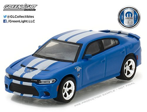 New 1:64 GREENLIGHT ANNIVERSARY SERIES 5 COLLECTION - Blue 2017 Dodge Charger SRT Hellcat MOPAR 80th Anniversary Diecast Model Car By Greenlight ()