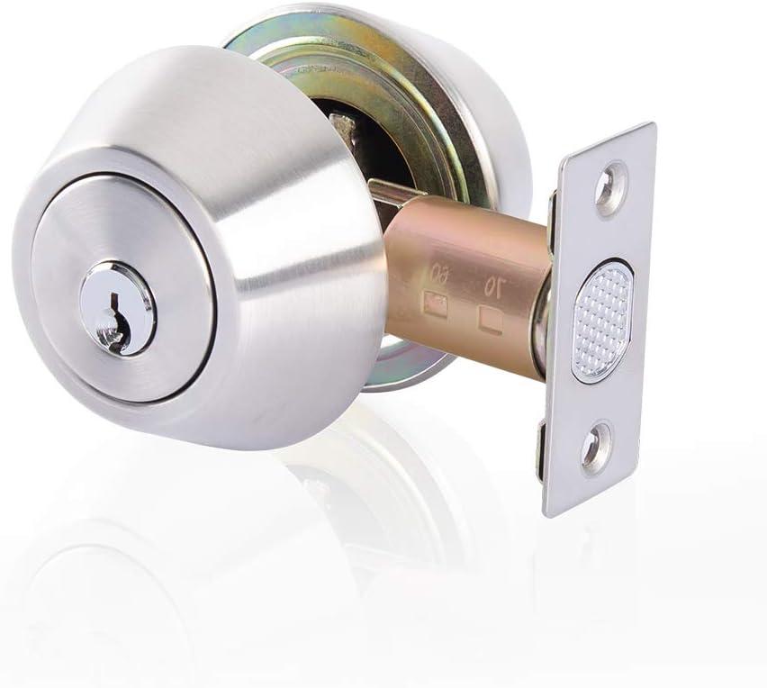 Rulart Double Cylinder Deadbolt Keyed On Both Sides 2 Way Adjustable Deadbolt Privacy Passage Satin Stainless Steel