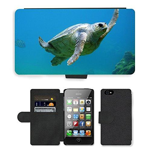 PU Leather Cover Custodia per // M00421711 Natation Sous l'eau Tortue // Apple iPhone 4 4S 4G