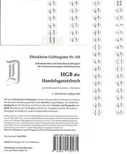 HGB im dtv (2017) Dürckheim-Griffregister Nr. 135: 64 bedruckte Aufkleber