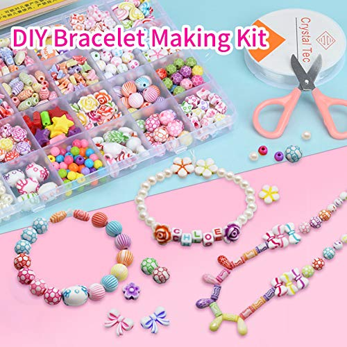 AOIEORD Rainbow Loom Bands, 1500 Rubber Bands 500 Beads Friendship Bracelet Making Kit for Girl, DIY Necklaces Colorful Craft Kids Jewelry Making Kit for Children Birthday