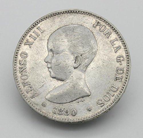 Desconocido Moneda de 5 Pesetas de Plata del Año 1890 Durante La ...