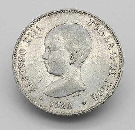 Desconocido Moneda de 5 Pesetas de Plata del Año 1890 Durante La Epoca de Alfonso XIII. Moneda Coleccionable. Moneda Antigua.: Amazon.es: Juguetes y juegos