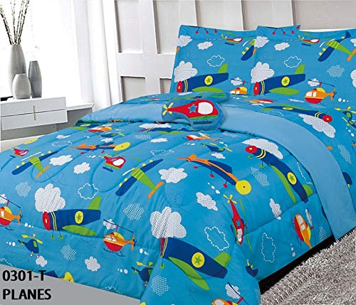 Elegant Home Airplanes Helicopter Aviation Multicolor 8 Piece Comforter Bedding Set for Boys/Kids Bed in a Bag with Sheet Set & Decorative Toy Pillow (Plane, Full - Kids Bedding Airplane