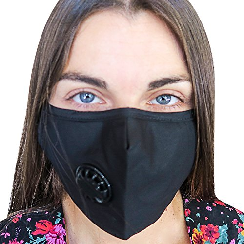 N95 Air Pollution Face Mask for Breathing Clean Air with Filter & Respirator | Dust, Germs & Smoke Protection, Flu | N99 Military Medical Grade | Washable & Reusable For Men, Women, Kids | 10 Filters