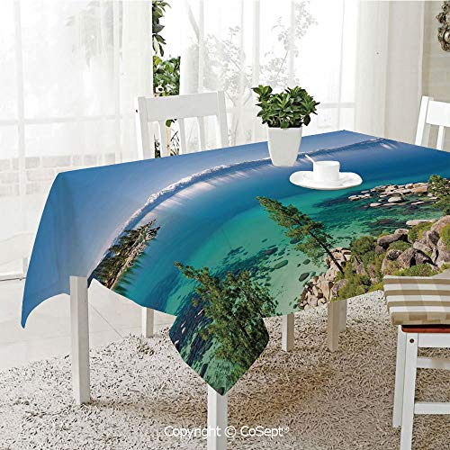 (SCOXIXI Rectangle Tablecloth,Tranquil View of Lake Tahoe Sierra Pines on Rocks with Turquoise Waters Shoreline,Great for Table,Parties,Holiday Dinner(60.23