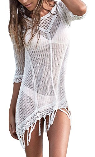 EPYA Women's Kintted Tassel Beach Dress Swimwear Beach Cover Up White