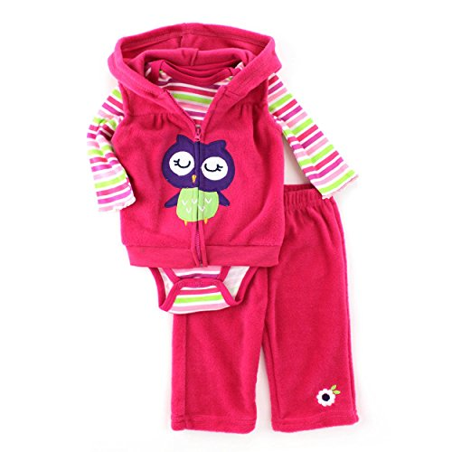 Buster Brown Baby 3 pc Outfit Fleece Vest Top Pants Set (6/9M, Pink Owl)