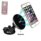 Antye Magnetic Qi Wireless Charger Car Mount Cradle for iPhone 6 Plus /6S Plus, Includes Qi Wireless Charging Receiver Case [Flexible Lightning Connector] and Dashboard Mounted Cup Holder (Rose Gold)