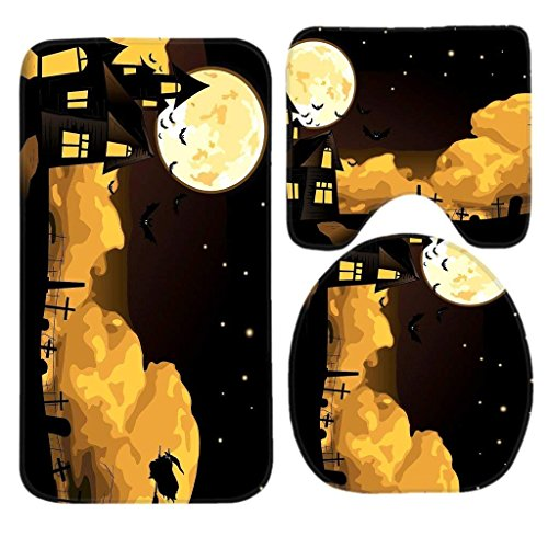 CCBUTBA Scary Halloween Night Witch and Bats on The Dark Sky Bath Mat Set,3 Piece Bathroom Mats Set Non-Slip Bathroom Rugs/Contour Mat/Toilet Cover Mats_22