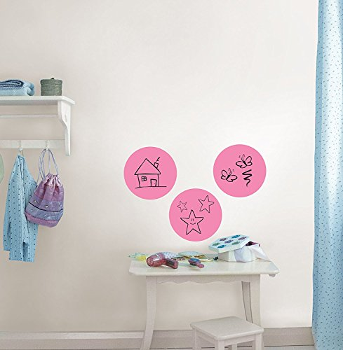 ZOMUSA Wall Pops Peel & Stick Calypso Dry-Erase Dots with Marker, 3-Count 13x13 inch (Pink)