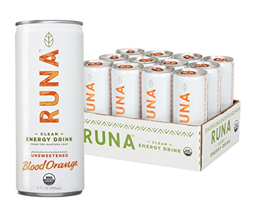 Runa Organic Clean Energy Drink From The Guayusa Leaf  Unsweetened Blood Orange  12 Fluid Ounce  Pack Of 12