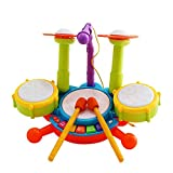 EMOB Dynamic Fun Beats Jazz Musical DRUM SET With MIC Toys Children