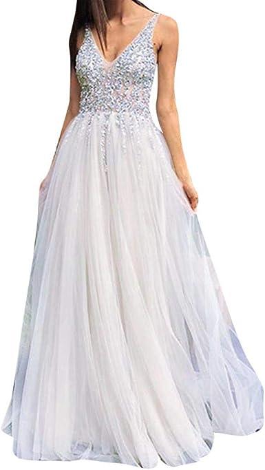 Vestido de Novia para Boda Blanco Vestidos de Fiesta Mujer Largos ...